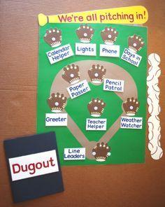 "sports theme classroom | School Classroom Job or Task Chart - Baseball Theme - ""We're All ..."