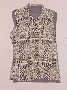 Notations Geometric Button Down Sleeveless Top Black White Women's XL X-Large #Notations #ButtonDownShirt #Casual