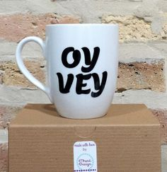 Oy Vey Mug Oy Vavoy Jewish Hebrew Yiddish by myChaiDesigns