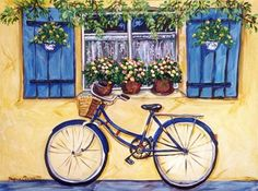 """Blue Bike"" by Suzanne Etienne Bicycle Painting, Bicycle Art, Art Aquarelle, Watercolor Paintings, Paintings I Love, Mail Art, Painting Inspiration, Painting & Drawing, Flower Art"