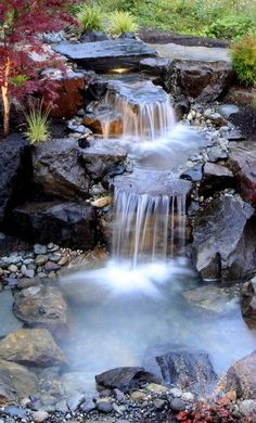 traditional pond and waterfall landscape