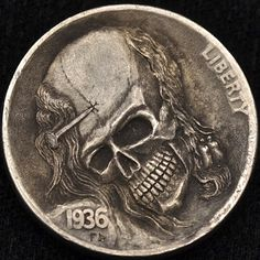"""Hobo Nickel: """"Nailed to Eternity"""" by Alex Ostrogradsky. Hobo Nickel, Coin Art, World Coins, Rare Coins, Halloween Skull, Skull And Bones, Stamp Collecting, Skull Art, Carving"""