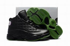 info for d9407 9ab83 Best Quality Air Jordan 13 Altitude Black Altitude Green For Kids