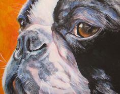 Boston Terrier portrait CANVAS print of LA Shepard painting 11x14 dog art on Etsy, $39.99