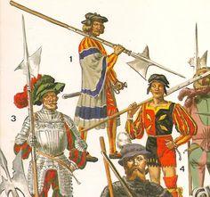 EL RENACIMIENTO por L. Y F. FUNCKEN. L. Y F. FUNCKEN.       Nº 1 .- Alabardero aleman en 1520.       Nº 3 .- Capitan de infanteria suizo, 1525.su armadura es una maximiliana de muy bella factura       Nº 4 .- Aleman ,1500 y 1510  . Es el tipo perfecto de los primeros lansquenetes