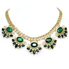 Chunky Emerald Green Crystal Gold Link Formal Statement Necklace Elegant Costume Jewelry  sc 1 st  Pinterest & Forest Emerald Green Green Olivine AB Clear Crystal Rhinestone ...