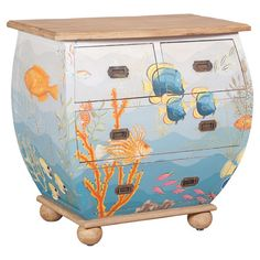 Hand-painted mahogany wood bombe chest with a multicolor undersea motif and bun feet.   Product: ChestConstruction ...