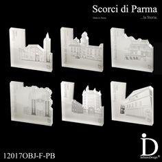 COFANETTO REGALO - 6 Fermacarte in plexiglass con pellicola bianca, tagliato al laser ed inciso, Collezione Scorci di Parma. Oggetto: Fermacarte Design di Parma {Cofanetto} - - - - - - - - - - - - - - - - - - - - - - GIFT BOX - 6 Paperweight plexiglass with white film, laser-cut and engraved, Collection Glimpses of Parma. Subject: Paperweight Design of Parma {Box} - - - - - - - - - - - - - - - - - - - - - - - - - - - - - - - - #gift #fermacarte #plexiglass #parma #madeinitaly #paperweight