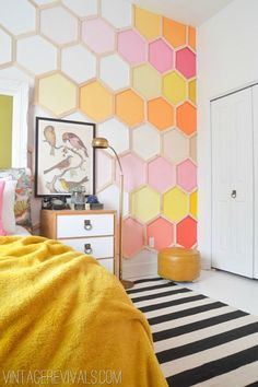Honeycomb Ombre Hexagon Wall in an Incredible Little Girls Room Makeover!  So fun and imaginative, its perfect for a little girl with some sass to her!! vintagerevivals.com