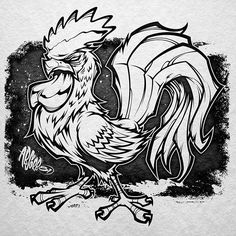 Animal Sketches, Animal Drawings, Drawing Sketches, Rooster Tattoo, Rooster Art, Cartoon Drawings, Cartoon Art, Art Drawings, Cartoon Rooster