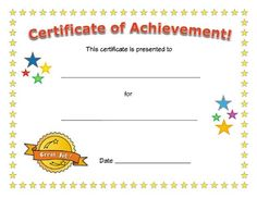 Achievement Award Certificates | Teaching, Elementary schools and ...