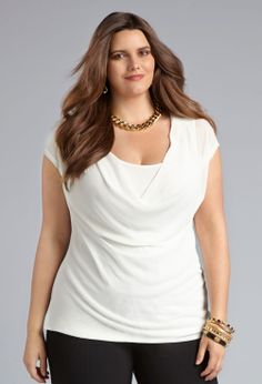 Draping Knit Back Top-Plus Size Work Top-Avenue