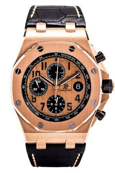 Audemars Piguet Royal Oak Offshore Chronograph Watch - 26470OR.OO.A002CR.01. New model for 2014. 18kt pink gold case (42mm diameter, 14.5mm thick), octagon-shaped 18kt pink gold bezel, black ceramic screw-down crown and push-pieces, alligator strap with 18kt pink gold folding clasp, pink/black dial with black Arabic numerals, chronograph function, date calendar, 59 jewel AP caliber 3126/3840 self-winding movement with 55 hour power reserve, water-resistant to 100 meters.