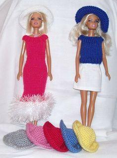 Barbie hoedjes rechte rand, diverse kleuren.