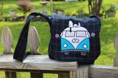 Snoopy and the VW Bus by StayingInStitches on Etsy