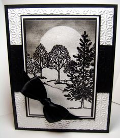 luv this card in black and white with a winter scene ...