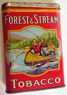"""FOREST & STREAM TOBACCO POCKET TIN. 2 MEN IN THE CANOE VERSION. From the Imperial Tobacco Co. of Canada Ltd. Measures 4 1/4"""" in height X 3"""" in width."""
