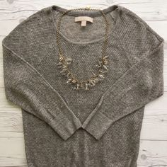 ✨HP!✨ BR Lightweight Sheer Sweater Amazingly soft delicate knit sweater from Banana Republic. Sheer, so you do need a cami underneath. Angora blend is super soft against bare skin!  Worn one time, so the condition is like new. 3/4 length sleeves. Perfect for transitioning into spring. Banana Republic Sweaters Crew & Scoop Necks