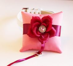 Cranberry Blush Ring Pillow attach to the by LADogStore, $68.50 #Wedding #Unique #RingDog #RingPillow #UniqueWedding #Amazing #Ring #Rings #LADogStore #LA #Dog #Store #Cranberry #Blush #BlushColor #BlushWedding #Flower #Rhinestone #Collar #DogCollar #Love