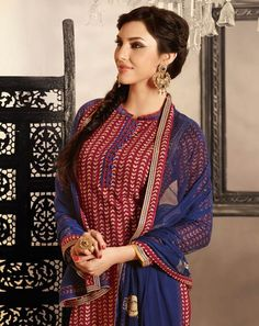 Maroon cotton party wear suit with chiffon dupatta
