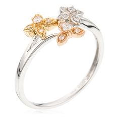 Diamanta White, Yellow & Rose Gold Ring with Diamonds (0.10 ct) featured in vente-privee.com