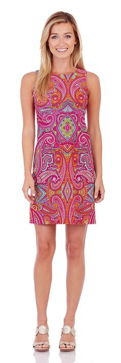 Jude Connally Beth Dress in Bollywood Paisley Fuchsia