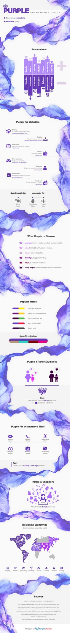 Discover the genuine power of Purple Color in Web Design, learn tips of its effective usage, and feel its  creative vibration.