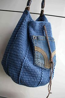 Crochet pattern, crochet bag pattern, upcycled denim drawstring, granny crochet bag pattern 276 Inst - Bags and Purses 👜 Crochet Shell Stitch, Crochet Motifs, Crochet Tote, Crochet Handbags, Crochet Purses, Crochet Cardigan, Bead Crochet, Crochet Stitches, Crochet Patterns