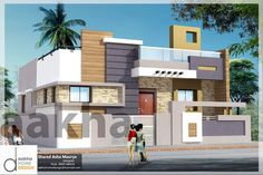 Sharad aakha maurya Single Floor House Design, Duplex House Design, Unique House Design, Layouts Casa, House Layouts, Front Elevation Designs, House Elevation, 2bhk House Plan, Village House Design