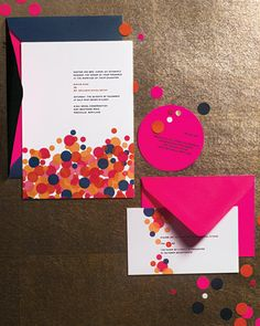 This confetti-themed invitation suite gives a hint at the party to come