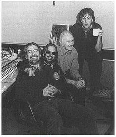 George Harrison, Richard Starkey, and Paul McCartney with Sir George Martin
