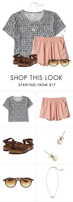 """No School Today!!!"" by flroasburn on Polyvore featuring Aéropostale, Birkenstock, J.Crew, Ray-Ban and Kendra Scott"