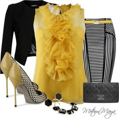 A fashion look from April 2013 featuring yellow chiffon shirt, short blazer and black knee length skirt. Browse and shop related looks.