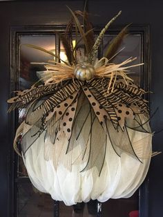 Beautiful full Ivory Pumpkin Wreath Supplies may slightly change with availability. Love the pheasant feathers! Really pops on the door! Thanksgiving Wreaths, Thanksgiving Decorations, Halloween Decorations, Fall Decorations, Casa Halloween, Halloween Crafts, Halloween Wreaths, Deco Mesh Wreaths, Holiday Wreaths