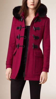 Detachable Fur Trim Wool Duffle Coat Abrigos Grises 831b33455f4c