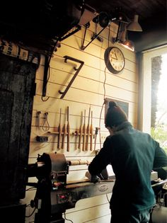 Tokuhiko Kise of TRUCK Furniture on the lathe in his workshop in Osaka, Japan