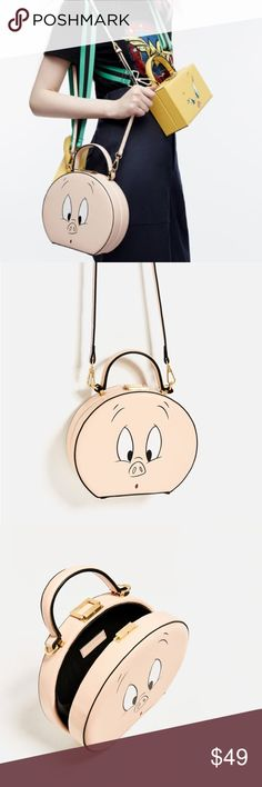 """Zara looney tunes round Porky bag Love the case design, cute & whimsical...nude background color..... detachable & adjustable straps, dimensions: 7x8.6x2.7"""" Zara Bags"""