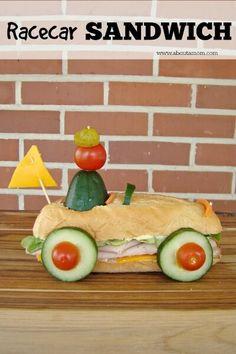Brilliant Race Car Sub Roll - Kids will love thsi fun sandwich idea from About a Mom