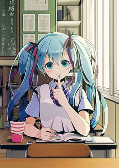 Miku in the school #cute