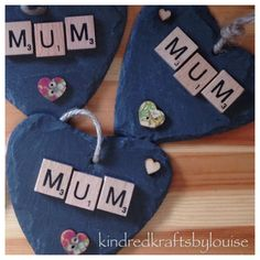 Mum hanging slate heart  Mother's Day gift by KindredKraftByLouise