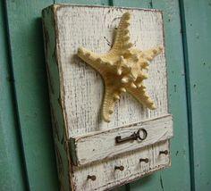 Starfish Key Holder White Skeleton Key Rack Beach by CastawaysHall, $45.00