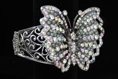Crystal and Bead Butterfly Cuff Bracelet. Only $24.99!
