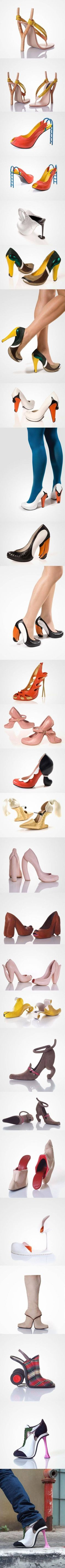 Look at the funky cool heels! HOW FUN! Never wear 'em, but sure are fun! Crazy High Heels, Crazy Shoes, Me Too Shoes, Weird Shoes, Funny Shoes, Designer High Heels, Designer Shoes, Shoe Art, Art Shoes