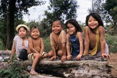 Ache children in permanent settlement of Arroyo Bandera. Mbaracayu Forest Reserve, Paraguay.