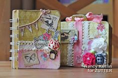 for Zutter Bind it All and Your Memories Here. Cute little suitcase with mini album. Arts And Crafts, Paper Crafts, Diy Crafts, Book Making, Card Making, Book Binding Machine, Mini Scrapbook Albums, Handmade Books, Smash Book