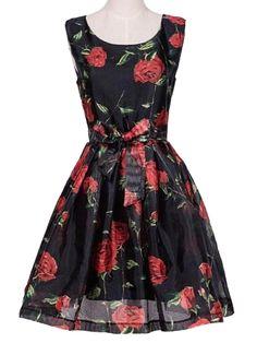 Black Rose Print Tie Waist Sleeveless Skater Dress