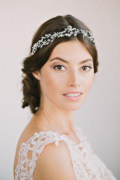 SAGE Headpiece-  crown, halo, floral, bridal, rhinestone, crystal, veil, wedding, tiara, headpiece