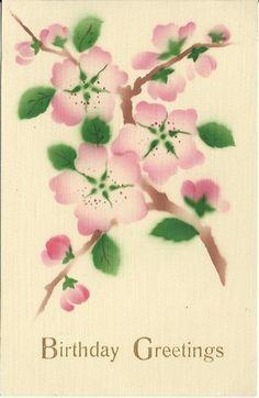 Antique Postcard Pink Cherry Blossoms by postcardsintheattic