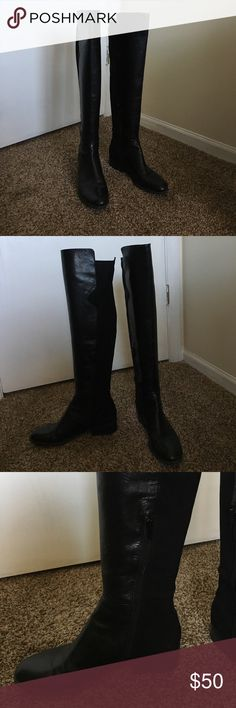 """Like new Nine West black leather knee high boots Like new Nine West black leather knee high boots! Worn maybe 3x. In great condition. Almond toe and 1"""" heel. Back of boot has elastase stretch, front is leather. Inside side zipper. Nine West Shoes Heeled Boots"""