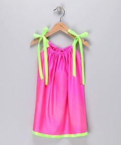 Take a look at this Hot Pink & Neon Green Silky Swing Dress - Infant, Toddler & Girls by Cozy Bug on #zulily today!